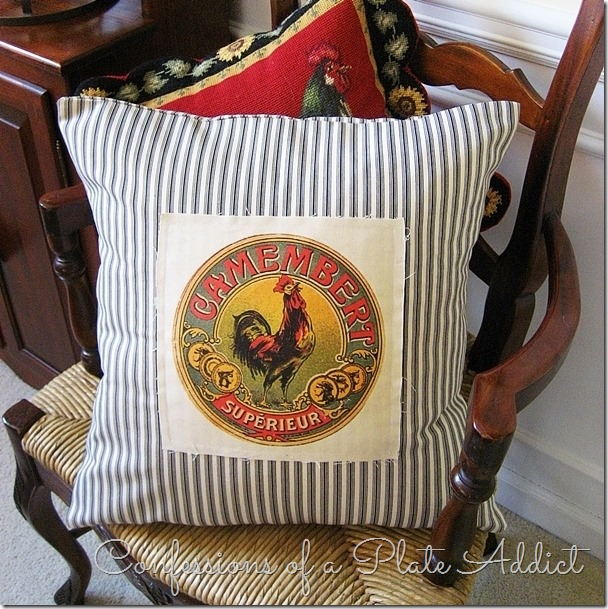 CONFESSIONS OF A PLATE ADDICT Ticking and Vintage French Cheese Label Pillow
