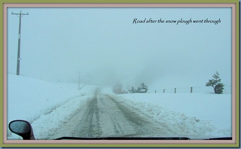 snow ploughed road 22 June Framed