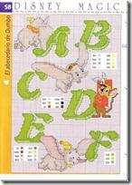 Esquemas abecedario Dumbo en punto de cruz