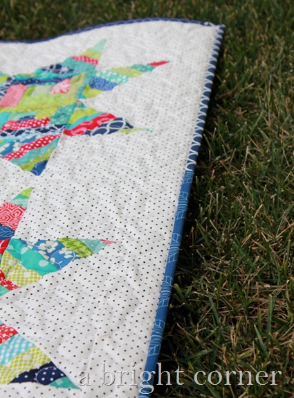 scrappy binding on a scrappy quilt