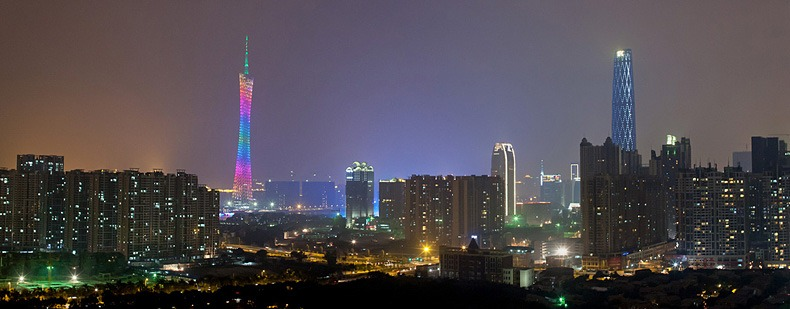 Guangzhou skyline, featuring the Canton Tower and the Guangzhou