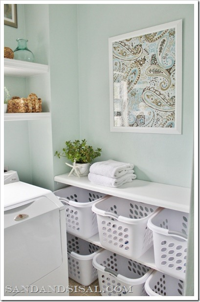 laundry room sorting station, framed fabric art