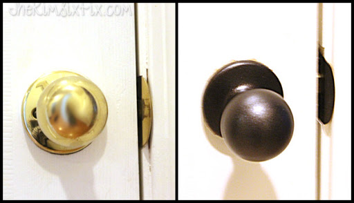 Door Hardware Spray Painted