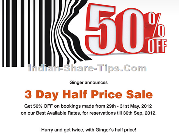 Ginger Hotels 50% Discount Off on Hotel Booking