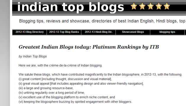 Featured as a top India blog