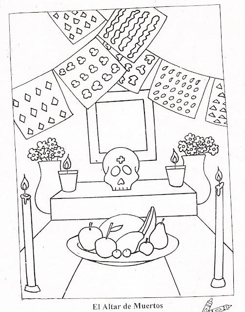 Colorear Ofrenda Dia De Muertos