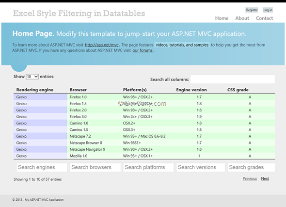 Excel Style Data Filtering in ASP NET MVC using DataTables js Plugin
