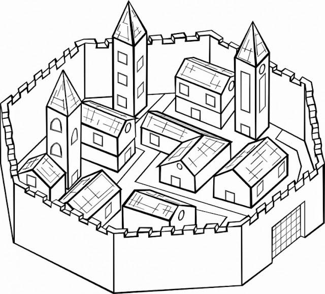 Desenho Cidade Medieval Colorir Cidade Medieval Colorir E Aprender