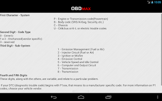 Screenshot of OBD Trouble Codes(DTC) OBDmax