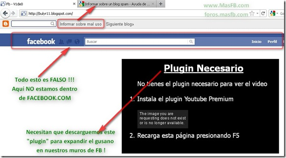 Plugin FALSO q se expande por Facebook