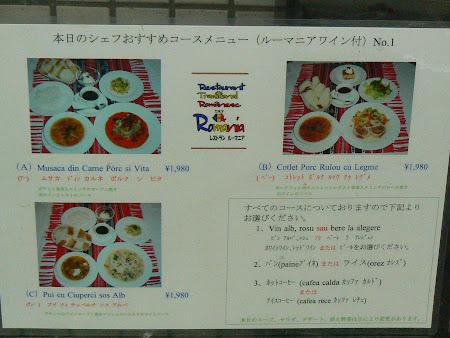 Restaurant romanesc Japonia: Restaurant Romania - meniu