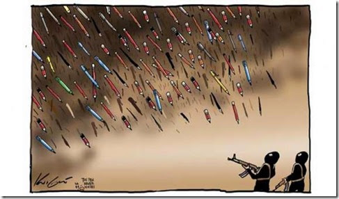 Pencils rain on Islamists