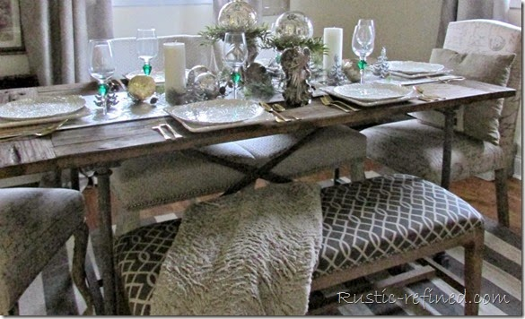Christmas Holiday Tablescape set using rustic and luxe elements