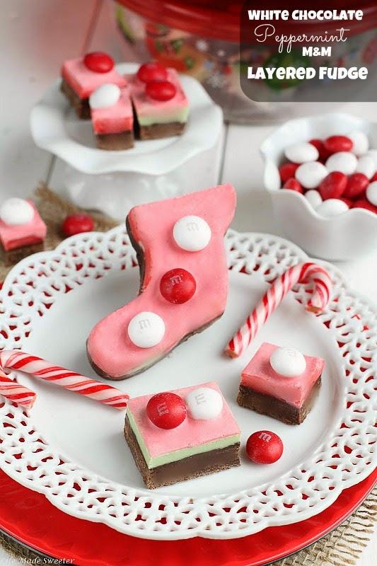 White Chocolate Peppermint M&M Layered Fudge from - @LifeMadeSweeter.jpg