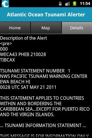 Atlantic Ocean Tsunami Alerter- screenshot
