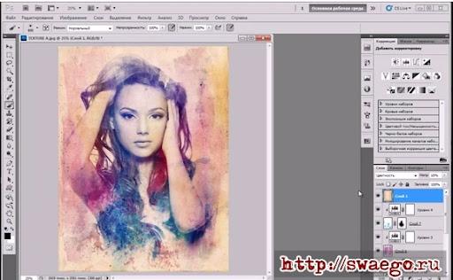 Красочный текстурный портрет на основе фотографии