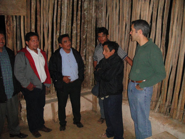 Speaking with Pastor Tomás (back center) and some members of his congregation. Also pictured: Manuel Diaz (extreme left) and Antonio Mendez (second from left.)
