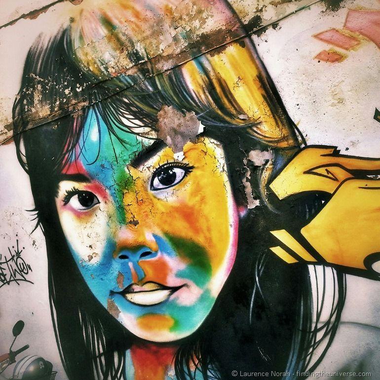 Street art girl Phuket town Thailand