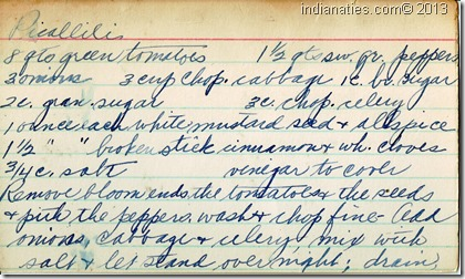Picallili recipe, pg 1, Dot Hurley