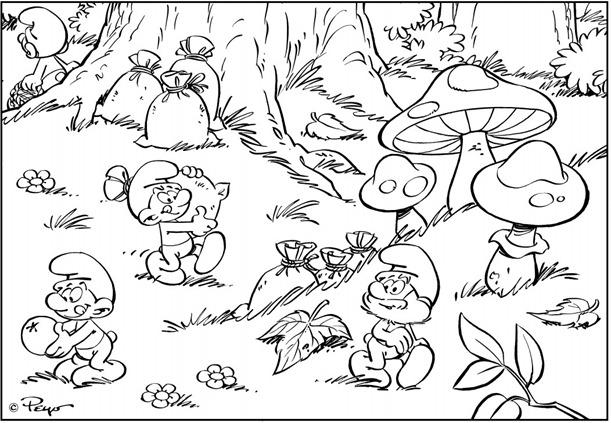 Desenhos Os Smurfs Na Floresta Para Pintar Desenhos Preto