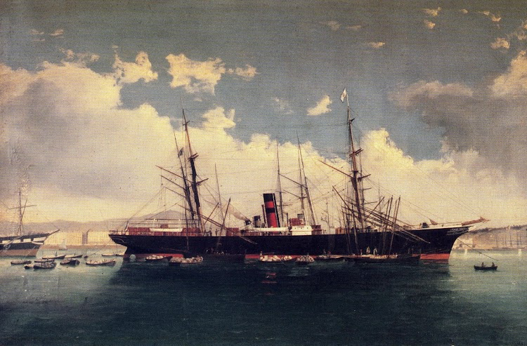 El vapor ANA DE SALA. Óleo de J. Mongay representando al barco en 1.881 en el puerto de Barcelona. Del libro VAPORES.JPG