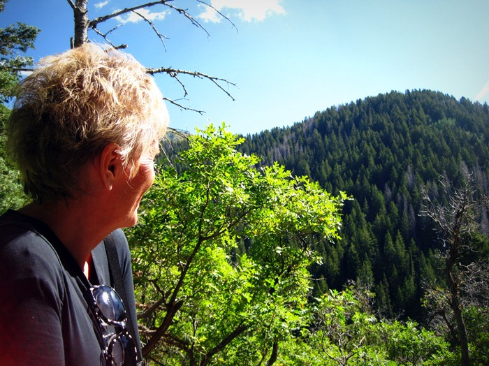 Mom looking out at the wonderful view from Bowman Fork Trail in Millcreek Canyon Utah