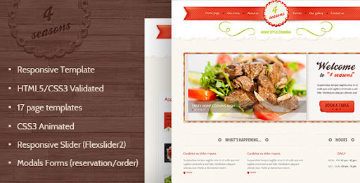 4 Seasons Restaurant Cafe Html5 Css3 Template Restaurants Cafes Entertainment