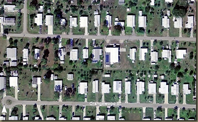 Hurricane Charley before and after aerial photos   destoyed mobile home park just northeast of Punta Gorda.