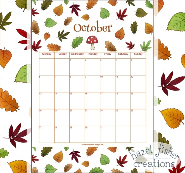 October 2014 free printable calendar autumn leaves hazel fisher creations