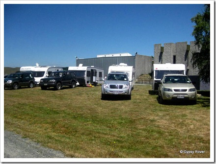 The gang parked up behind the Army museum, Waiouru.