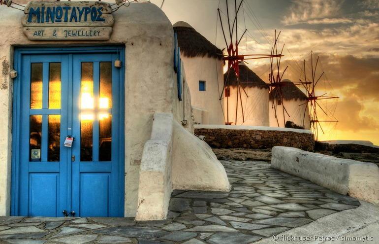 Windmills of Mykonos by flickr user Petros Asimomytis