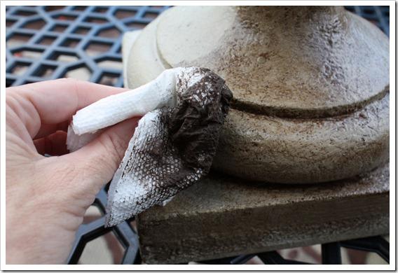 Blot excess glaze with napkin