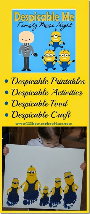Despicable Me Family Movie Night with Minion Activiites, Crafts, Food, and Printables