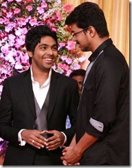 Actor Vijay at GV Prakash Kumar & Saindhavi Wedding Reception Photos