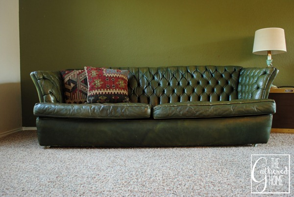 Excellent Found: Vintage Tufted Green Leather Sofa - The Gathered Home NQ63