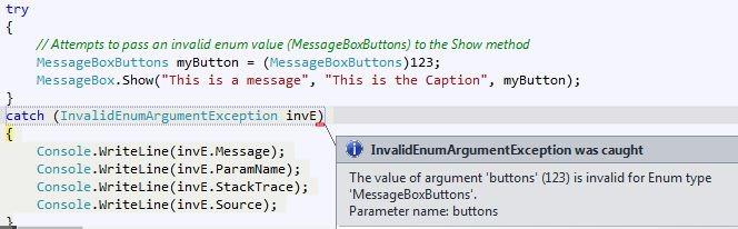 Przykład InvalidEnumArgumentException