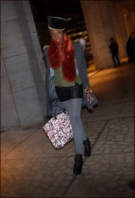 w black and leopard hat red fur scarf grey coat and tights black skirt green top multi color bag ol