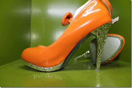 Orange Mary Janes With Studded Heels