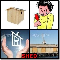 SHED- 4 Pics 1 Word Answers 3 Letters