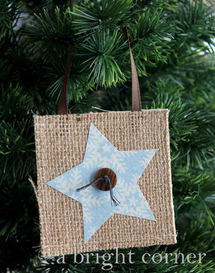 Burlap Christmas Star ornament
