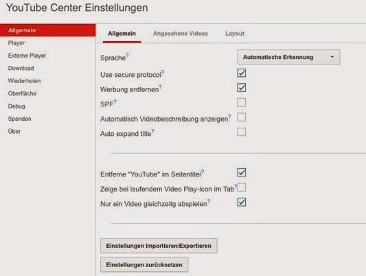 Youtube Center Einstellungen