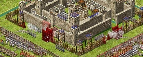 Uma grande batalha em Stronghold.