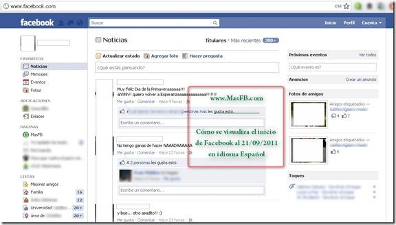 Inicio de Facebook en castellano