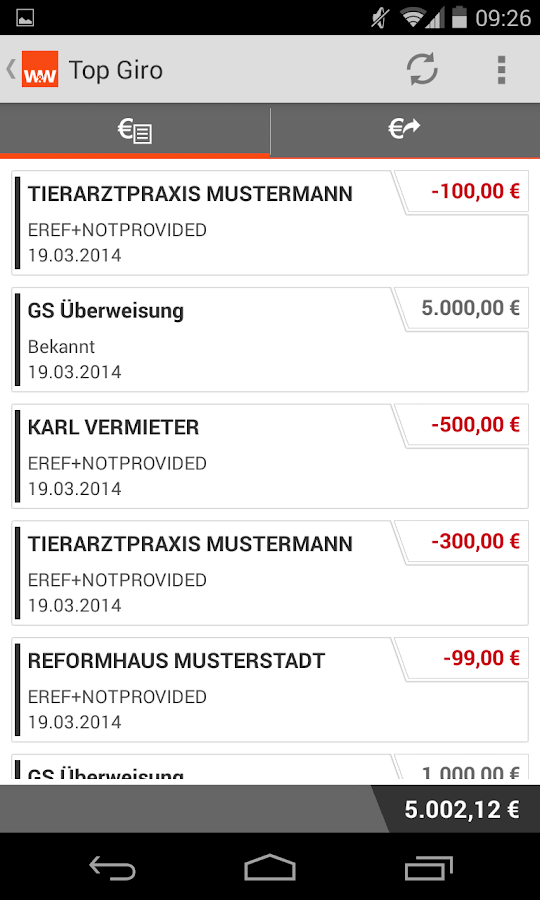 Wüstenrot Mobile Banking- screenshot