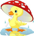 56275-clip-artillustration-of-a-cute-yellow-duckling-strolling-under-a-mushroom-umbrella-on-a-rainy-spring-day-by-pushkin