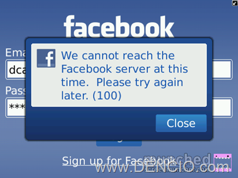 Facebook for BB Error