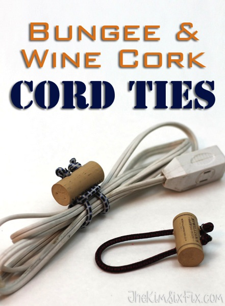 Bungee wine cork cord ties