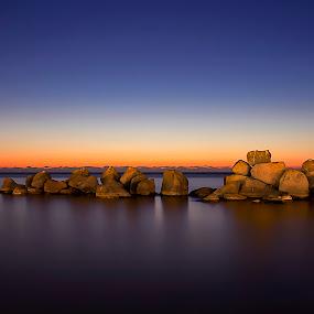 Floating Rocks by Ashraf Ahmed Habib - Landscapes Waterscapes ( sunset, seascapes, blue hour, canon 650d, float, rocks )