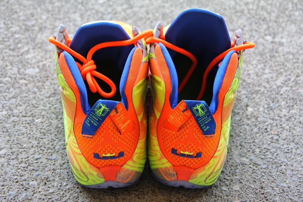 innovative design 9e1f4 44876 ... A Detailed Look at the Orange Volt Nike LeBron 12 8220Nerf8221 ...