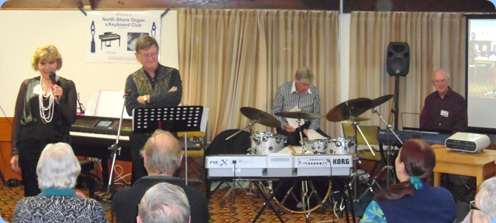 Carole Littlejohn's Music Makers Band doing the pre-amble before the start of their great concert which lasted a full hour. Left to Right: Carole Littlejohn, Len Hancy, Ian  Jackson, and Peter Brophy.